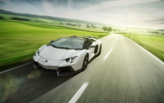 Wallpaper Lamborghini Aventador LP700-4 white roadster speed