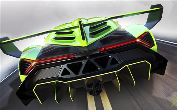Wallpaper Lamborghini Veneno green supercar back view
