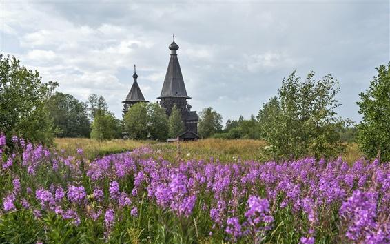 Papéis de Parede Região de Leningrado, templo, igreja, Rússia, flores, grama
