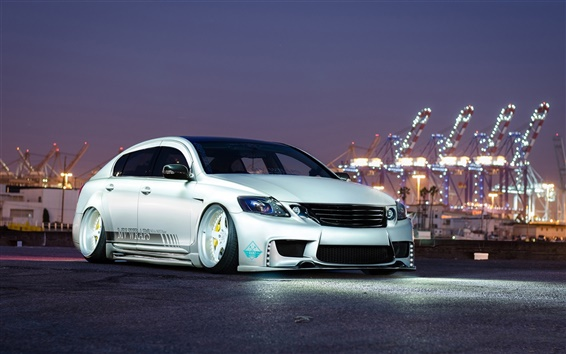 Wallpaper Lexus GS300 silver car, night, lights