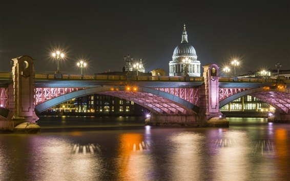 Wallpaper London, river Thames, bridge, cathedral, night, lights