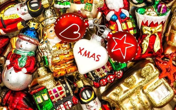 Fond d'écran Joyeux Noël, décorations, jouets, ballons, bonbons