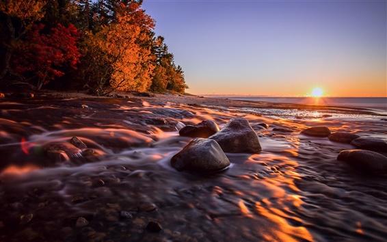 Wallpaper Michigan, USA, sunset, sea, coast, stones, autumn