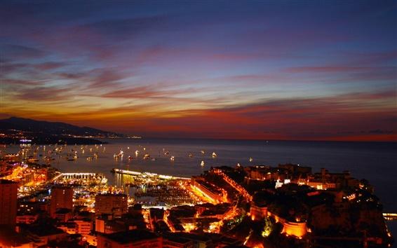 Wallpaper Monaco, Monte Carlo, night, city, port, lights, boats