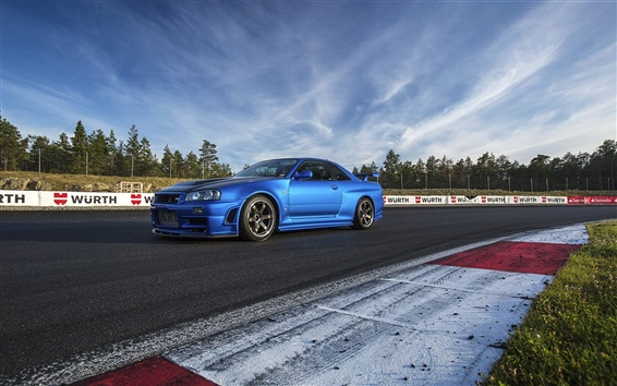 Обои Nissan R34 синий автомобиль сбоку