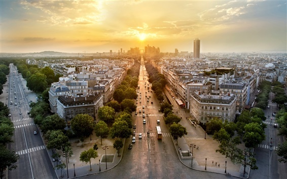 Wallpaper Paris, France, city panorama, evening, sunset, houses, roads, cars