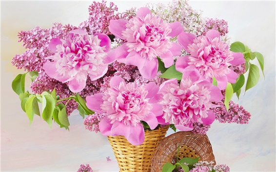 Wallpaper Pink flowers, basket, peonies, lilac