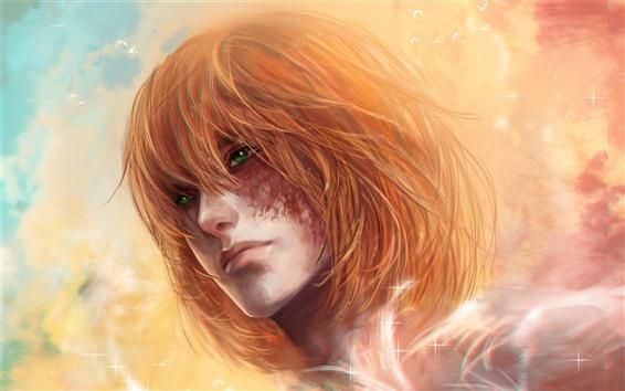 壁紙 赤髪のファンタジーの女の子、緑色の目、星、空