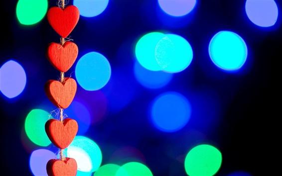 Обои Красный любовь сердца, свет, боке