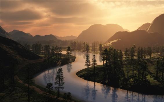 Wallpaper River, morning, fog, trees, sunrise