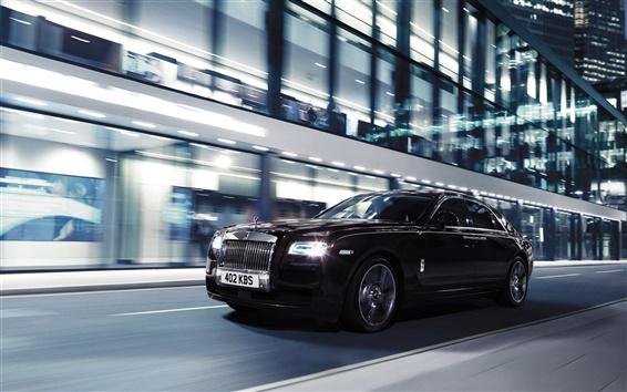 Обои Rolls Royce Ghost V-характеристики автомобиля, ночь, город