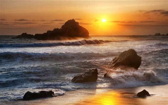 Wallpaper Sea, stones, waves, sunrise, dawn