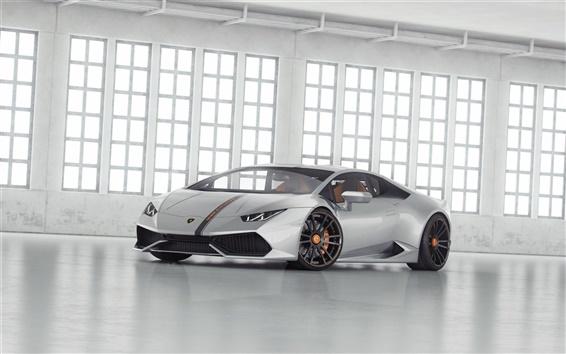 Обои Серебро Lamborghini LP 610 суперкар