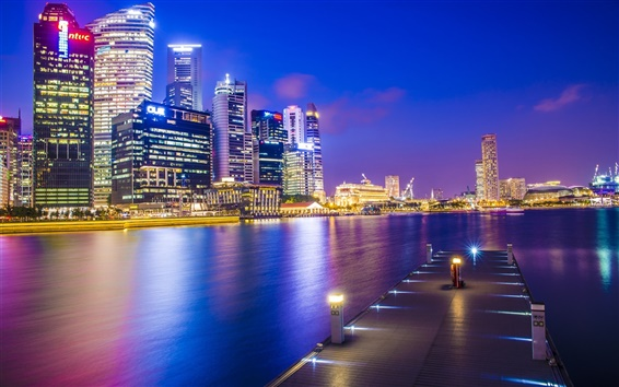 Wallpaper Singapore, Asia city, night, dock, skyscrapers, lights