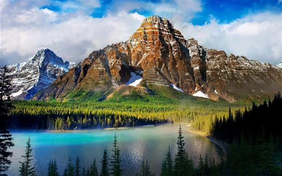Обои Небо, облака, горы, снег, лес, деревья, озеро