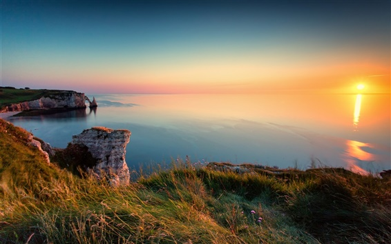 Обои Закат, скалы, море, побережье, Этрета, Франция