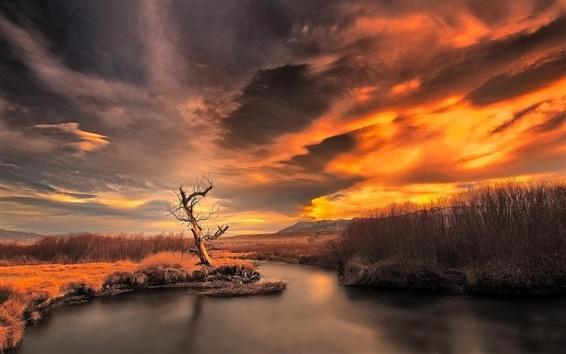 Обои Закат, Сумерки, горы, река, природа пейзаж