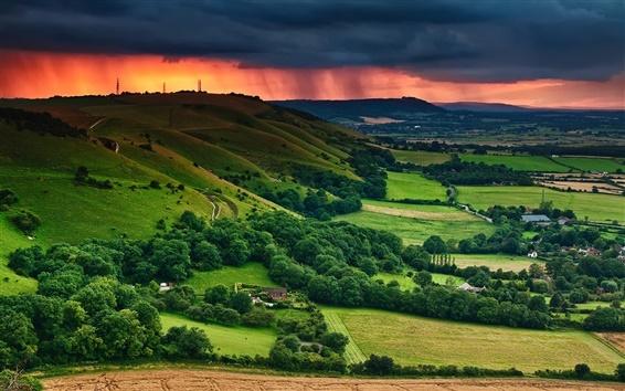 Wallpaper Sunset, field, valley, houses, trees, summer, dusk