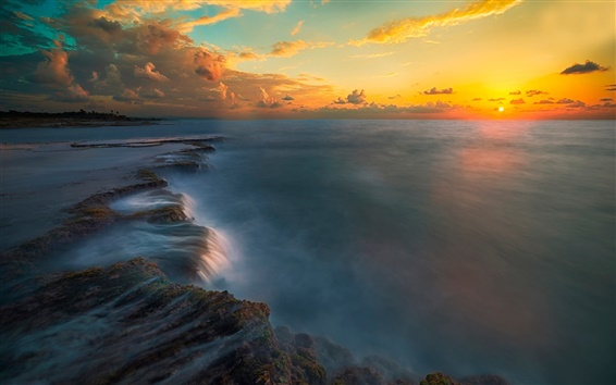 Wallpaper Sunset, sea, coast, sky, clouds