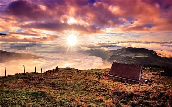 배경 화면 스위스, 산, 집, 구름, 일출