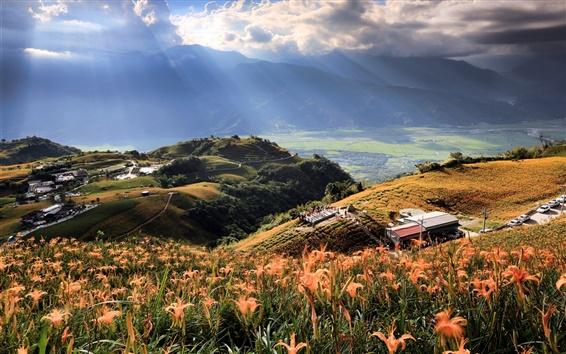 Fond d'écran Taiwan, ciel, nuages, montagnes, fleurs, maison