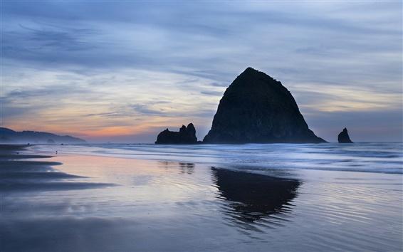 배경 화면 미국, 오레곤, 바다, 해안, 바위, 저녁, 하늘, 구름
