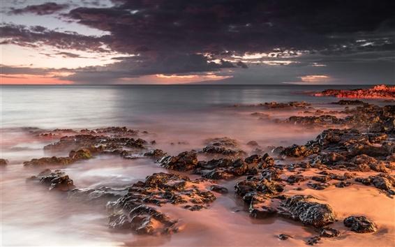 Wallpaper United States, Hawaii, sea, rocks, dusk