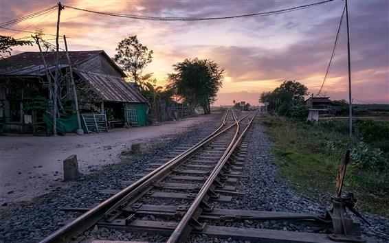 Papéis de Parede Village, estrada de ferro, casa, crepúsculo, Cambodia