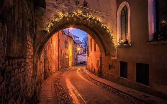 Wallpaper Vilnius, Casimir street, Lithuania, night, lights