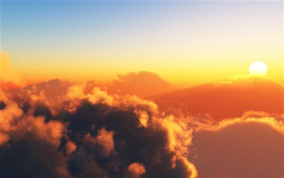 Wallpaper Warm sky, clouds, sun, sunset