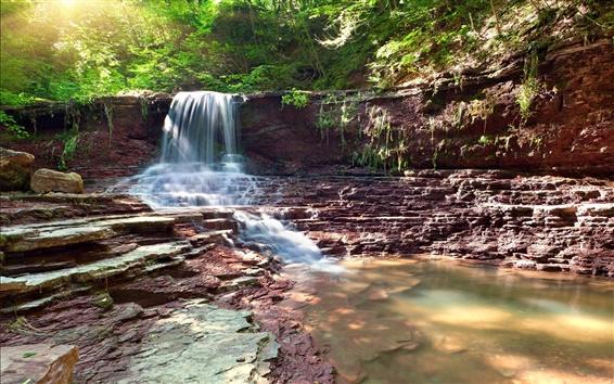 Papéis de Parede Cachoeira, pedras, árvores, floresta, luz solar