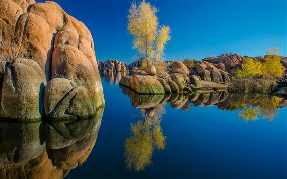 Papéis de Parede Watson Lake, Arizona, EUA, pedras, árvores, reflexão da água