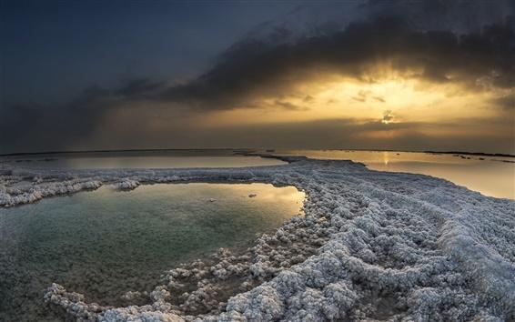 Fond d'écran Hiver, ciel, coucher de soleil, de réflexion, crépuscule, mer