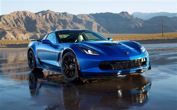 Обои 2014 Chevrolet Corvette C7 синий суперкар