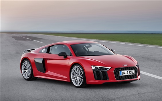 Wallpaper 2015 Audi R8 red car