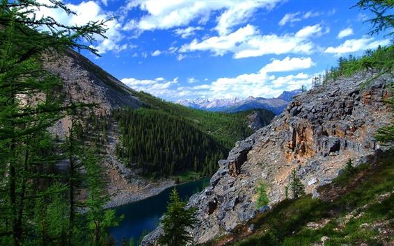 Papéis de Parede Alberta, Canadá, céu, nuvens, montanhas, lago