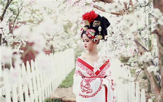 Wallpaper Asian girl, retro style, flowers, spring