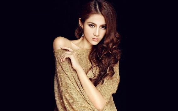 Wallpaper Asian model girl, jacket, brown hair
