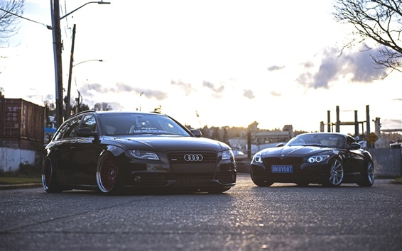 Wallpaper Audi A4 and BMW cars
