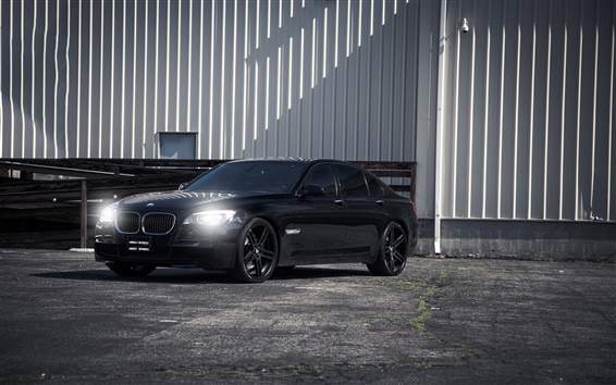배경 화면 BMW 750i 검은 차