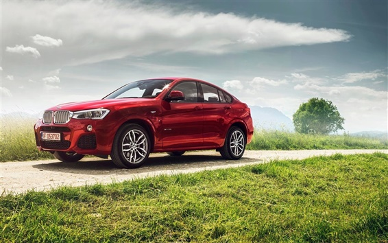 Обои BMW X4 xDrive35i красный автомобиль