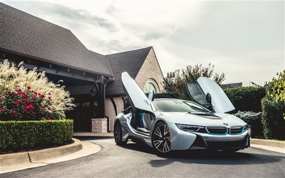 Wallpaper BMW i8 silvery Electric Hybrid car
