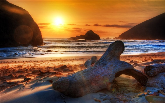 Wallpaper Beach, coast, sea, mountains, rocks, sunset
