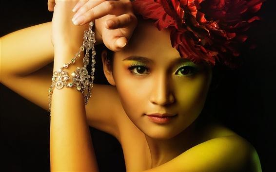 Обои Красивая девушка азиатской, мода, макияж