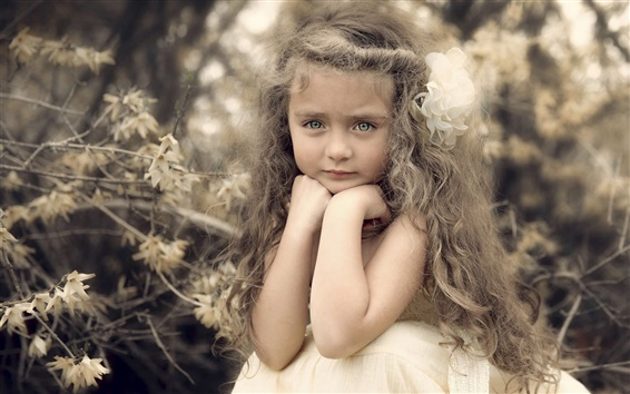 Wallpaper Beautiful cute girl, portrait, curls, flower