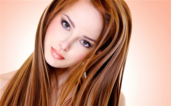 Wallpaper Beautiful girl, face, eyelashes, hair