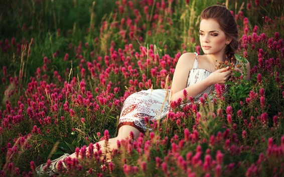 Wallpaper Beautiful girl, flowers field, summer