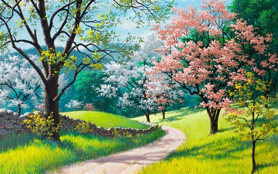 Wallpaper Beautiful painting, spring, blossoms, trees, grass, road