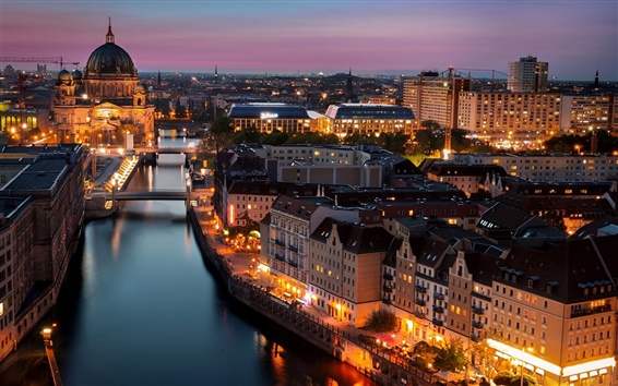 Papéis de Parede Berlim, Alemanha, cidade, noite, luzes, construções, rio