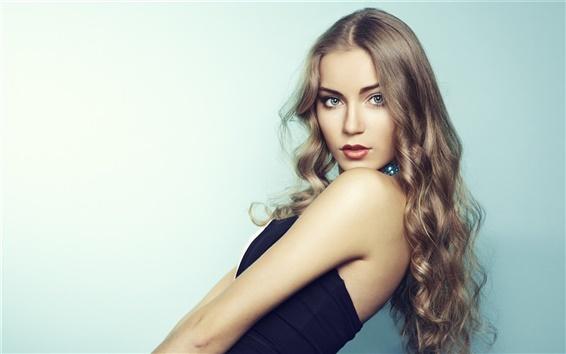Wallpaper Blonde girl, beautiful model, long hair